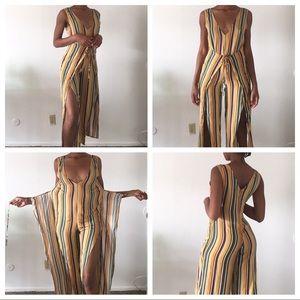 Forever 21 vneck sleeveless stripe  jumpsuit